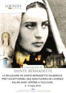 Accueil et Exposition des reliques de Sainte Bernadette